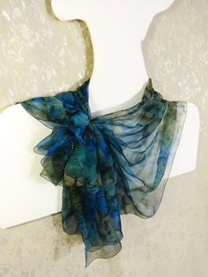 Hand painted silk scarf Long chiffon blue green by WhisperOfSilk