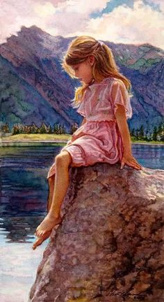 Steve Hanks original painting--Child of the Lake, available from J Watson Fine Art 661 your source for Steve Hanks art Paintings I Love, Beautiful Paintings, Original Paintings, Watercolor Artists, Watercolor Paintings, Watercolors, Fine Art, Female Images, American Artists