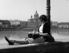 """Young Woman Sitting on the Florence Lungarno"", ca. 1960 - Vincenzo Balocchi"