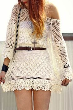 Cut Out Round Neck 3/4 Sleeve Crochet Dress