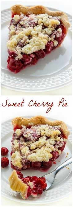 Homemade Sweet Cherry Pie topped with buttery crumbs! My FAVORITE Summer treat.