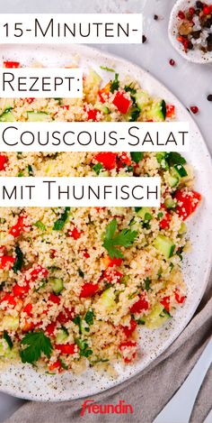A quick recipe for the lunch break complacent? This tasty couscous salad with tuna is not only super healthy, but also finished in 15 minutes! The post recipe: couscous salad with tuna appeared first on Food Monster. Salad Recipes For Dinner, Chicken Salad Recipes, Healthy Salad Recipes, Quick Recipes, 15 Minute Meals, Green Veggies, Greens Recipe, How To Make Salad, Lunches