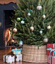 So long, standard base-hiding apron: Use a wicker base instead of a more standard Christmas tree skirt.