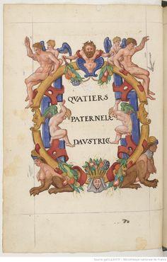 A colorful frame with figures. From  'Notes généalogiques sur la maison d'Autriche et journal des voyages de Charles-Quint' 1601-1700
