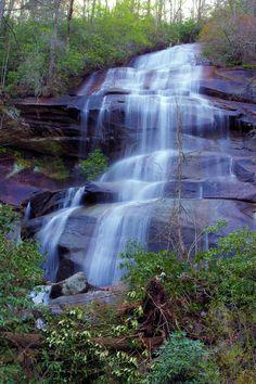 Daniel Ridge Falls, a #waterfall in Pisgah National Forest near Asheville, North Carolina. http://www.romanticasheville.com/daniel_ridge_falls.htm