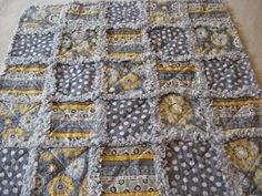 Yellow Gray White Flowers Dots Stripes Baby Girl Rag Quilt Blanket 35x35 by farmernurse on Etsy