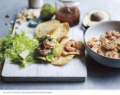 Prawn tostadas with avocado and spicy peanut oil