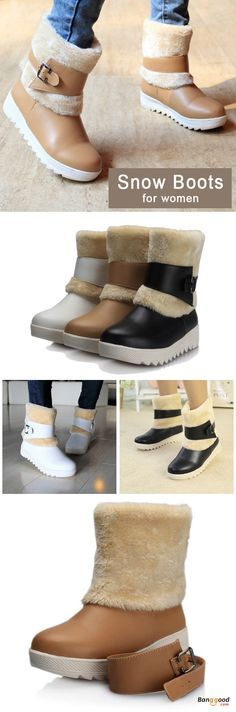 US$33.98 + Free shipping. Size: 5~9. Color: Black, White, Beige. Fall in love with casual and warm style! Fur Lining Keep Warm Women Winter Casual Flat Snow Boots.