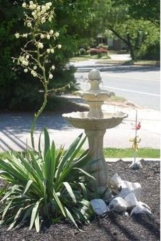 2 Tier Solar Fountain With LED Light Outdoor Garden Water Feature Patio Decor
