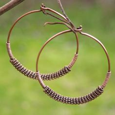 Coiled Copper Hoop Earrings by BeLovedLeather on Etsy, $40.00