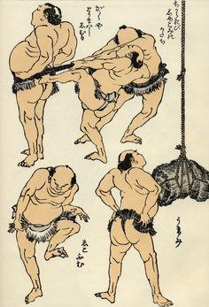 Hokusai manga Japanese Tattoo Artist, Sumo, Japan Painting, Japanese Folklore, Katsushika Hokusai, Japanese Prints, Japan Art, Woodblock Print, British Museum