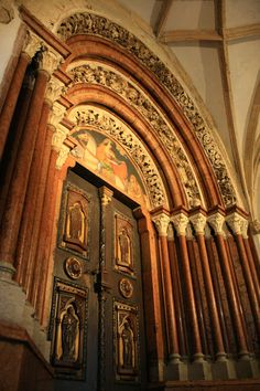 """The Abbey of Pannonhalma,Hungary. The ornate door or so-called """"Porta Speciosa"""" Hungary Gates, Cathedral Church, Grand Entrance, Closed Doors, Moorish, Wood Doors, Facades, Architecture Details, Arches"""
