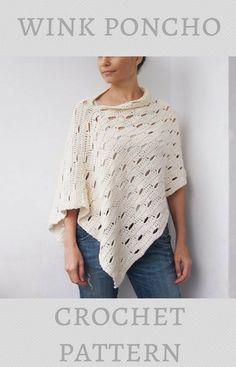 """Wink"" womens ladies poncho sweater crochet pattern #ponchocrochetpattern #crochetponchopattern #crochetponcho #ponchopattern #crochetpatterns #affiliate"