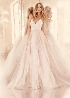 1456044108 hayley paige bridal tulle floral beaded ballet v neckline spaghetti crisscross full tiered tulle skirt 6560 zm