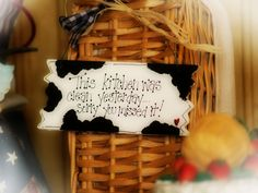 COWS Decor Country Cow KITCHEN was clean yesterday Farm Wall Hanger. $5.00, via Etsy.