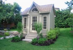 This Copper Creek shed plan located in Toronto, Ontario with Canexel Khaki Siding serves as a garden studio. Great for your backyard garden. Backyard Studio, Backyard Sheds, Garden Studio, Garden Sheds For Sale, Garden Shed Kits, Garden Ideas, Pool Cabana, My Pool, Traditional Sheds