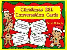Christmas ESL Conversation Fun Cards with Directions for Mingle Activity