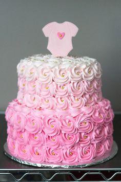 https://flic.kr/p/B5BKdL | Pink Ombre Rosette Baby Shower Cake