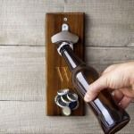 Personalized Rustic Wall Mount Bottle Opener with Magnetic Cap Catcher