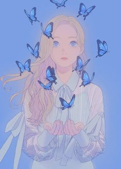 Girl with butterflies Kunst Inspo, Art Inspo, Cartoon Kunst, Cartoon Art, Art And Illustration, Anime Art Girl, Manga Art, Fantasy Kunst, Fantasy Art