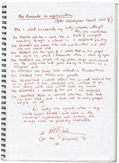 A poem Neil wrote for Amanda and read aloud at her concert at the Sydney Opera House in 2011