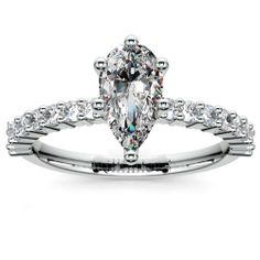 Treat your darling to delicate diamond elegance in a graceful setting that enhances rather than overwhelms her hand... Meet the beautiful Shared Prong Diamond Engagement Ring in Platinum, featuring a Pear-cut center stone! http://www.brilliance.com/engagement-rings/shared-prong-diamond-ring-platinum-1/3-ctw