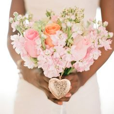 wedding bouquet with locket