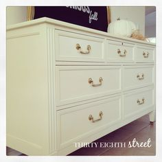 The Taylor Dresser by Thirty Eighth Street, This beautiful piece was refinished in Chalk Paint® decorative paint by Annie Sloan in Old White and the hardware received a good Brasso cleaning