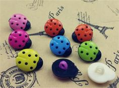 LadyBugs Multicolor Plastic Buttons/ Sewing supplies / DIY craft supplies / Novelty Buttons / Party Supplies / Kids craft Supplies - pinned by pin4etsy.com