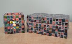 Metalic Flare mosaic tile candle holder and keepsake box.