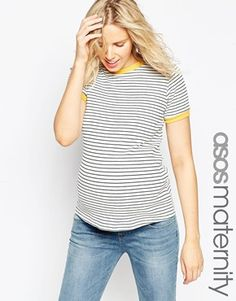 ASOS Maternity T-Shirt In Stripe With Contrast Binding