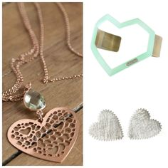 The Picture Garden: Austrian Etsy . adorns you with precious hearts! Rose Gold Heart Necklace, Washer Necklace, Hearts, Bangles, Garden, Silver, Etsy, Jewelry, Jewellery Making
