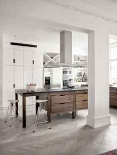 white kitchen in a Minimalist Copenhagen Apartment For A Large Family - DigsDigs