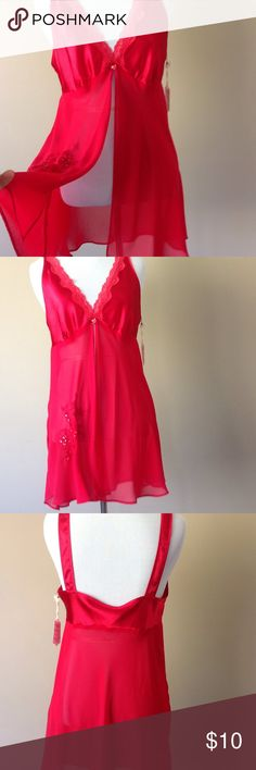 M Babydoll nightie lingerie negligee Satin back, cups and straps. Sheer chiffon open flyaway front. Size medium.  Excellent condition and has been freshly laundered. secret treasues Intimates & Sleepwear Chemises & Slips