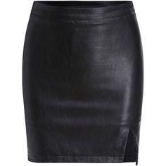 Slit PU Bodycon Black Skirt (1.195 RUB) ❤ liked on Polyvore featuring skirts, bottoms, saias, black, black skirt, slit skirt, short skirts, short slit skirt and body con skirt