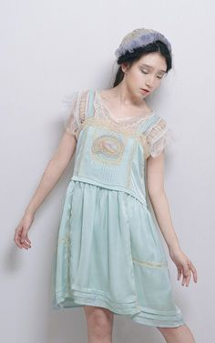 Mori girl sleeveless crew neck bird embroidered blue lace chiffon mini dress