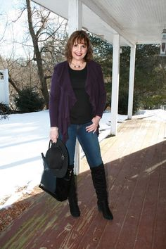 Eggplant Ruffle Cardigan, black tank, straight leg jeans, black over-the-knee boots, black bag and black hat outfit