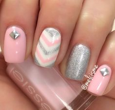 Pink & silver girly nails by Instagram user @ melcisme