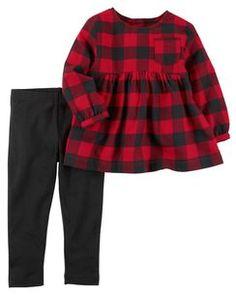 Carter's Cotton Flannel Tunic & Leggings Set, Little Girls - Plaid Legging Outfits, Tunic Leggings, Tops For Leggings, Toddler Leggings, Toddler Pants, Baby Outfits, Kids Outfits, Toddler Outfits, Baby Girl Fashion