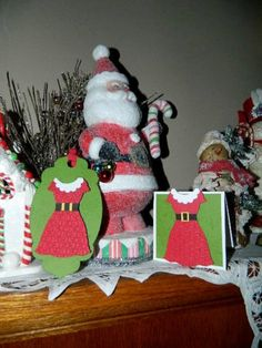 Santa's busy so Mrs. Claus help give these gifts :)  Dress up Framelit, Stampin' UP!, Christmas Tags
