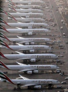 Emirates jets at DXB. Almost a nice image for the purposes of comparing the quad-jet Airbus to the twin-jet Boeing Of course, Emirates went on to purchase about as many than the total & sold to airlines around the world. Dubai Airport, Dubai City, Dubai Uae, Abu Dhabi, Voyage Dubai, Emirates Airline, Boeing 777, Commercial Aircraft, Civil Aviation