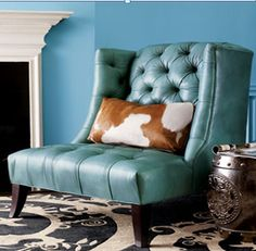 Cowhide + turquoise leather
