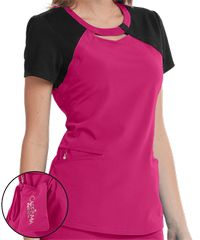 Careisma by Sofia Vergara Fearless Contrast Cutout V-Neck Scrub Top