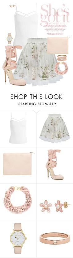 """Light Floral"" by designcat-colour ❤ liked on Polyvore featuring Sans Souci, Miss Selfridge, Kenneth Jay Lane, Kate Spade, Michael Kors, Alexis Bittar, white, Pink, Floralskirts and designcatcolour"