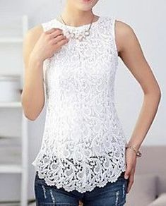 Women's Sleeveless Lace Splicing Tank Pretty Outfits, Cool Outfits, Casual Outfits, Look Chic, Lace Tops, Blouse Designs, Ideias Fashion, Fashion Ideas, Fashion Dresses