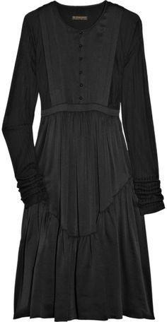 Burberry Prorsum Silk Tunic Dress in Black