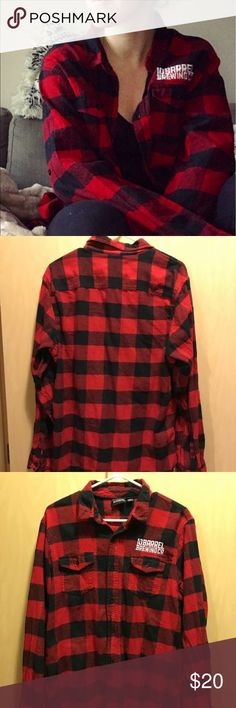 10 Barrel Black & Red Checkered Flannel Good condition - size Large but sizing runs small, can fit a women's medium burnside Tops Button Down Shirts