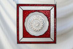 stained glass plated panels | ... Wexford Scalloped Edge Stained Glass Plate Panel in Ruby Red on Wanelo