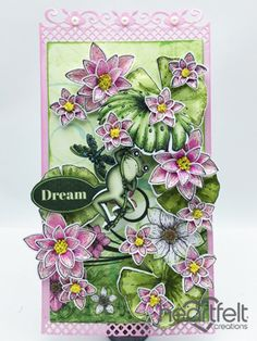 Heartfelt Creations | Frog Hanging With Pink Lilies