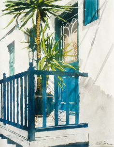 """mediterranean blue balcony with potted palms (1) mykonos 18"""" x 10""""  micheal zarowsky watercolour on arches paper / private collection"""